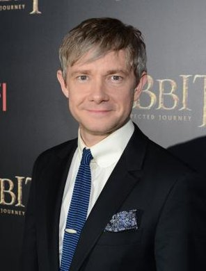 "Martin Freeman plays Bilbo Baggins in a film series based on ""The Hobbit."""