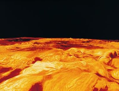 A computer model shows some of the volcanoes on Venus.