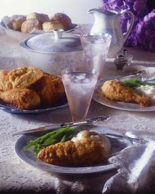 Many fried chicken recipes use the flour, egg, bread crumb method.