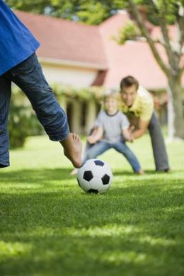 Kicking a ball strengthens the gross motor skills needed for other physical activity.