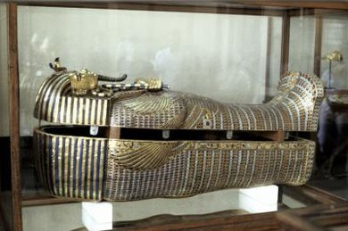 Egyptian artisans often used gold and pigments to decorate wooden sarcophagi.