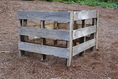 Standing wood pallet garden, ready for planting.
