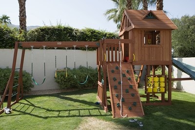 Place proper padding around a play structure.