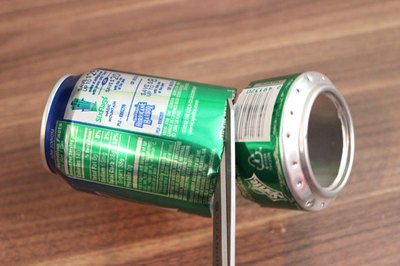 Cut the cans where marked