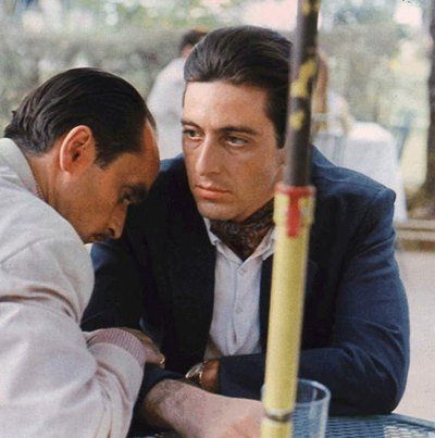 Fredo and Michael Corleone (aka John Cazale and Al Pacino)