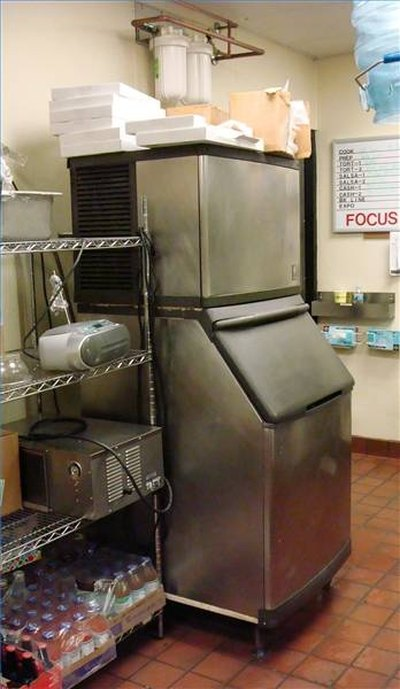 Ice machine with rack storage