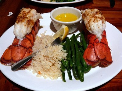 Twin lobster tail dinner prepared at Cap'n Jacks Restaurant.