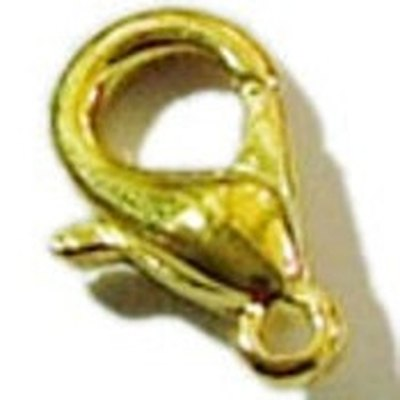 Lobster clasp opens by pressing a hinge that opens into a claw.