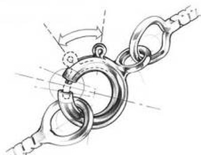 Spring ring clasp opens to secure a loop that holds the chain together.