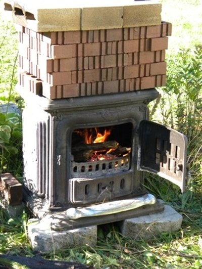 Homemade outdoor wood-fired kiln