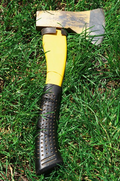 Short-handled ax is ideal for cutting a golf club.