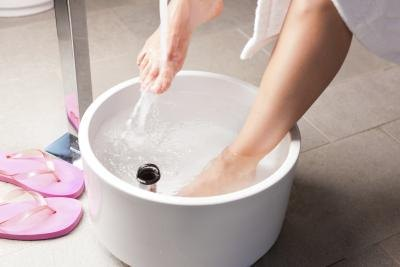 Soaking your feet in cool water with vinegar may help.