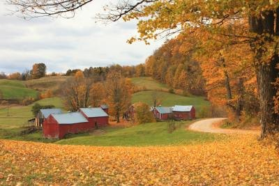 An autum landscape of a farm in Vermont.