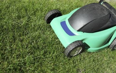 Close-up of electric mower