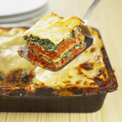 Vegetarian lasagna being served