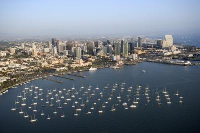 Aerial view of San Diego Bay, CA.