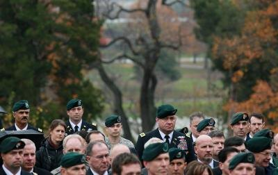 U.S. Army Special Forces past and present servicemen attend wreath laying ceremony at the gravesite of President John Kennedy in Arlington National Cemetary.