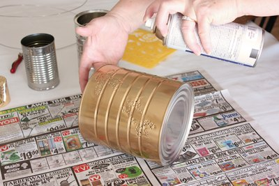 Apply a thin coat of paint to the can.