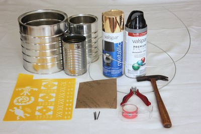 Supplies for tin can lanterns.