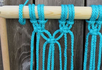 Use two strands of cord from each section.