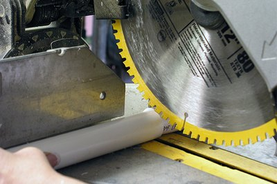 A power miter saw speeds the cutting process.