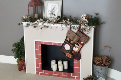 fireplace ready for the holidays