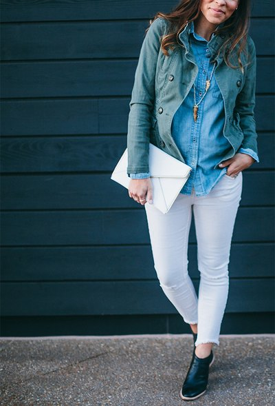 Chambray and white looks crisp and comfortable.