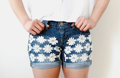 Embellishments are perfect for spicing up an old pair of denim shorts.