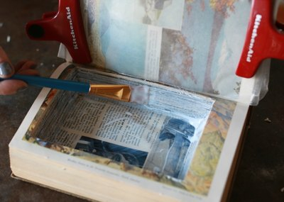 Brush the decoupage medium along each of the inside walls.