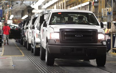 Ford trucks on assembly line
