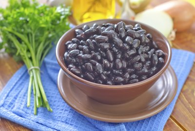 Small bowl of black beans.