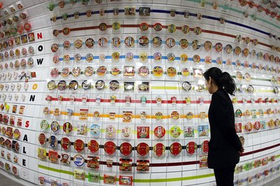 Instant ramen noodle cups on display