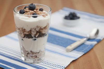 Small parfait cup with blueberries.