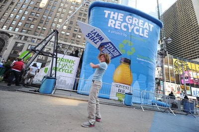 A 30ft. recycling bin erected by Honest Tea during 'The Great Recycle' event in TImes Square, New York City, NY.