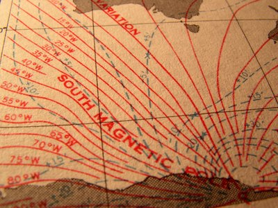 South Magnetic Pole indicated on old U.S. Navy chart