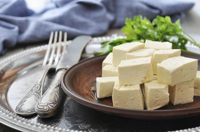 Small plate of cubed tofu.
