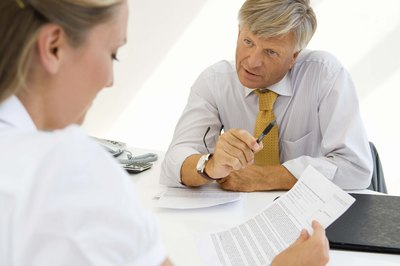 Businesswoman meeting with accountant