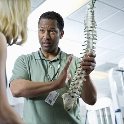 Physical therapist holding a model spine with vertebrae