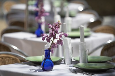 blue and purple centerpieces