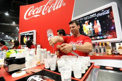 Coca-Cola beverages being served at convention center