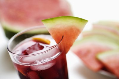 Cranberry juice with melon slice