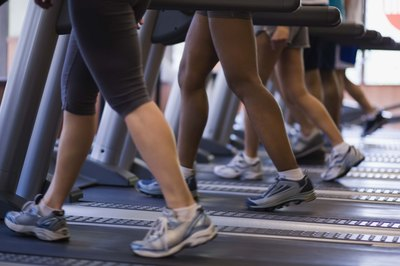 Members use treadmills at the gym.