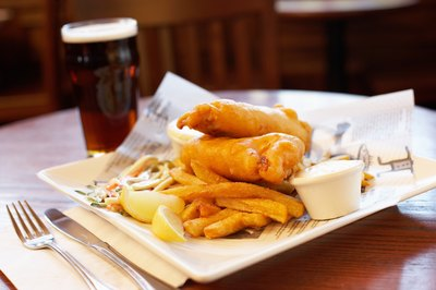 A plate of fish and chips.
