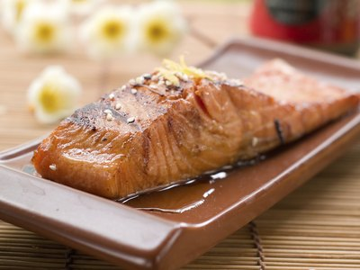 Grilled salmon on a plate.