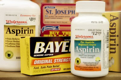 Aspirin products on a shelf