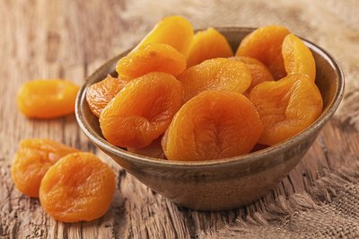 Dried apricots in bowl