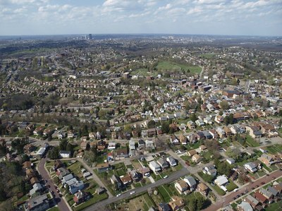 Aerial over Pittsburgh suburb
