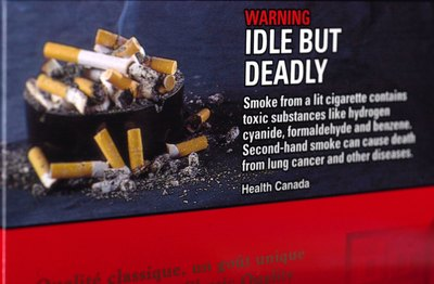 Graphic health warning label attached to cigarette boxes and packs in Canada