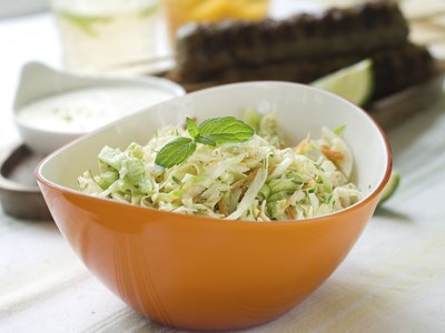 A bowl of cole slaw.