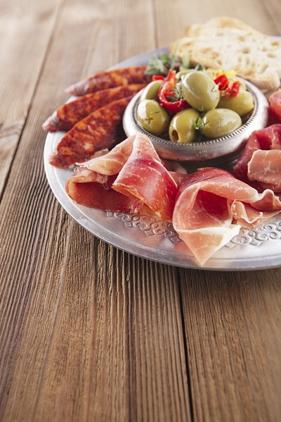 An appetizer plate of cured meats